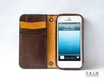 iPhone SE 5 5s Leather Wallet [Handmade] [Custom Colors]