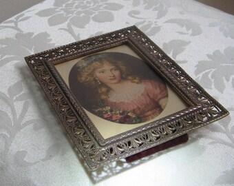 Vintage Woman Portrait Art Print In Ornate Brass Picture Frame With Filigree Fleur de Lis & Convex Bubble Glass