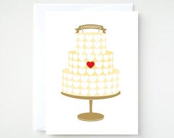 Wedding Cake Congrats Card, A2 Card