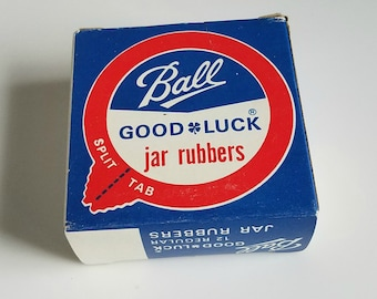 Ball Good Luck Jar Rubbers, Vintage Canning Supplies, Vintage Ball Canning, Original Box and 12 Rubber Gaskets, Vintage Farmhouse Decor