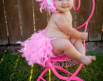 Feather Bloomers - Diaper Cover & Headband Set -  New Baby Flamingo - Photo  Prop -  First Baby photo - Baby Bloomers - Newborn Baby Gift