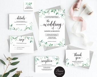 Rustic Wedding Invitation Template, Greenery Wedding Invitation Printable, Greenery Invitation, Cheap Invitation, PDF Instant Download #E031