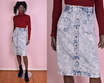 80s Acid Wash Denim Button Down Skirt/ 25.5 Waist/ 1980s