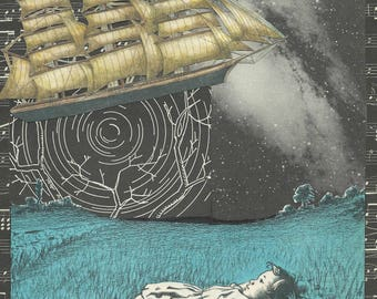 Night sky, fantasy art, space, astronomy, travel, tall ship, dreamer, paper collage, curious, art print