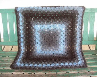 Lapghan,baby,adult,seniors,gray,brown,turquoise,crocheted,gift