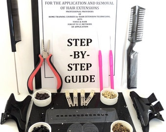 Micro Ring Micro Bead Hair Extension kit and training guide for stick tip hair