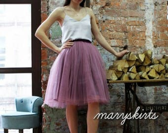 Tulle skirt with matching lining, fixed waistband with hidden zipper (color - Frostied berries)