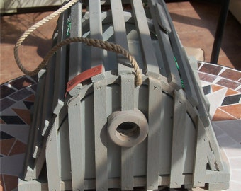 Handcrafted lobster trap birdhouse. Driftwood gray.