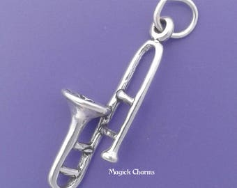 TROMBONE Charm .925 Sterling Silver, Musical Instrument Pendant - lp2988