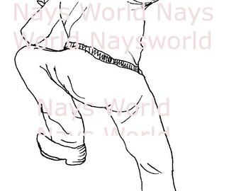 Digital Stamp, male figure climbing, climb, Digi Stamp,Stamps, male digital stamp