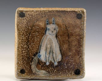 Exquisite Wood Fired Square Plate by Jenny Mendes - White Cat