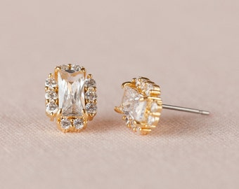 Gold Stud Earrings, Baguette Wedding Earrings, Swarovski, Crystal Bridal Earrings, Post Earrings, Julienne Stud Earrings