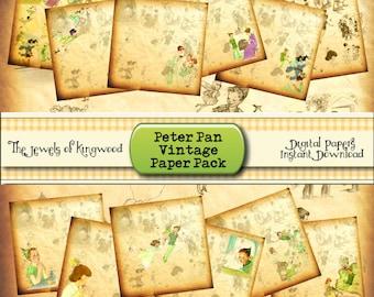 DIY Printable Scrapbook Project Supplies - Peter Pan Scrapbook Paper - Vintage Peter Pan Prints - 12x12 Printable Paper - Instant Download