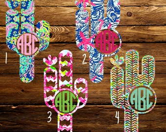Lilly Inspired Cactus Monogram Decal, Yeti Decal, Laptop Decal, Phone Decal, Macbook Decal, Monogrammed Sticker, Car Decal, iPad Decal