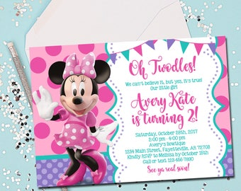 MINNIE MOUSE INVITATION, Minnie Mouse Birthday Invitation, Invite, Minnie Mouse, Pink and Purple, Oh Twodles, 2nd Birthday, Printable