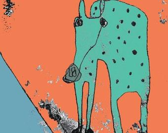 Horse print, horse image, gift for horse lover, horse art, nursery art, horse theme, horse decor, cartoon horse, wacky horse, mare, pony