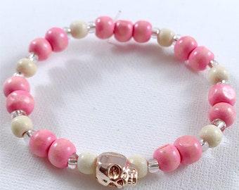 Pink Wooden Skull Bracelet