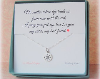 Sister necklace gift, Sisters necklace, Compass necklace, Sister Gift Wedding, Maid of Honor Gift, Sisters Birthday, Sister and best friend