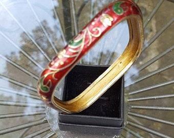 Bracelet / Red Enamel / Bangle / Large