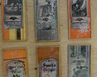 Mixed Media Halloween Glass Microscope Slides set/6 Steampunk Vintage Prim junk journal