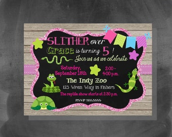DIGITAL Reptiles and Snakes Glitter & Chalkboard Birthday Girl Party Invitation