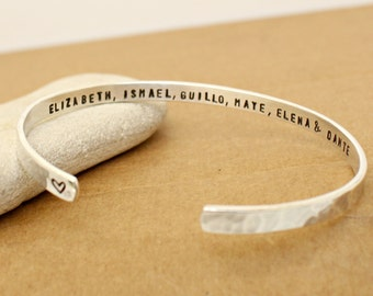Personalized Bracelet Cuff - Sterling Silver bangle - Name - Date -Coordinates - Roman Numeral  Proverbs Cuff-  Bridesmaid Gift