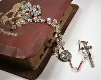 Crystal Rosary, Clear Crystals, Red Glass Beads, Catholic Prayer Beads, Blessed Mother, St. John Gabriel, Silver Crucifix, Made in Italy