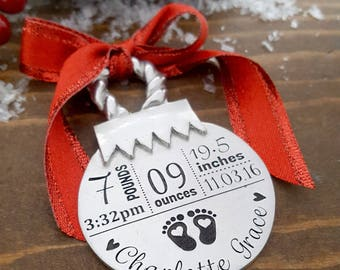 New Baby Christmas Ornament | Personalized Baby Ornament | New Baby Gift | Baby Stats Ornament | New Baby Ornament | Baby's First Christmas