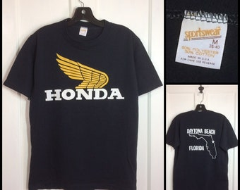 1980s Honda  Daytona Beach  Florida bike week motorcycle biker black t-shirt size medium 19x26 made in USA