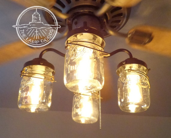Rustic Mason Jar Ceiling Fan Light Kit Only With Vintage Pints