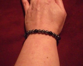 Hematite & Onyx Bracelet with .925 Sterling Lobster Clasp