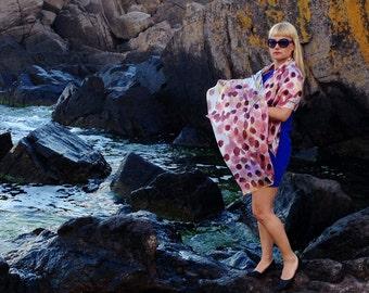 Hand painted silk Shawl/Orange Dots/Woman silk shawl/Summer accessory/Painting luxury silk shawl/Painted by hand Silk shawl/Made by /H0040