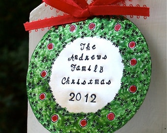 Hand Stamped Enameled Family Christmas Ornament - Hard Anondized Aluminum - LARGE 3 inch disc