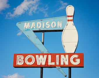 Madison Bowling Neon Sign Print | Nashville Photography | Neon Sign Art | Game Room Decor | Bowling Alley Print | Retro Wall Art