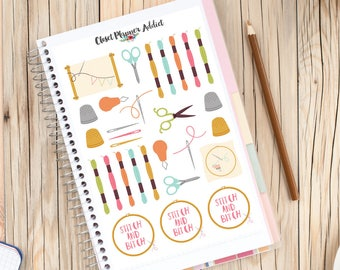 Cross Stitch Embroidery Planner Stickers | Cross Stitch Stickers | Hobby Stickers | Embroidery Stickers | Sewing Tools (S-234)