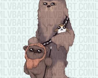 Furry Space Friends Fine Art Print