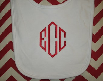 Monogrammed Bib - Personalized, Baby Gifts, Christmas Gift Idea, Baby Bibs, Monogram, Gifts for Baby, White Bib