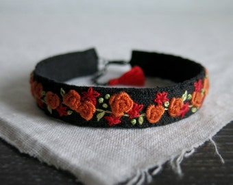 Floral Bracelet, Orange Rose Bracelet,  Hand Embroidered Cuff,  Embroidered Cuff Bracelet, Mothers Day Gift, Black Linen Bracelet