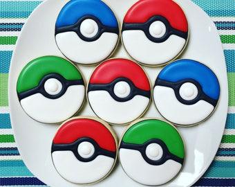 One Dozen Poke Ball Sugar Cookies
