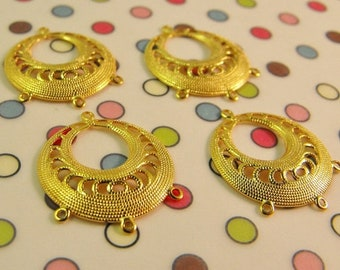 Mothers Day Sale 4 Pack Gold Plated 19mm SizeRound Filigree Style Earring Drops  Great Jewelry Making Supplies