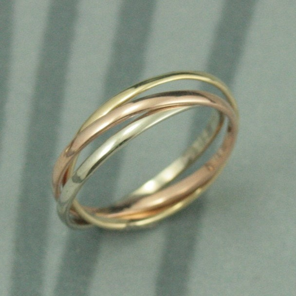 14K Tri Color Rolling Ring Rose White and Yellow Gold