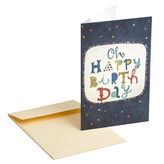 OH HAPPY BIRTHDAY! Embossed birthday card. Creative lettering. For girlfriend, for boyfriend, for Mom, for children