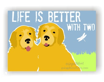 Golden Retriever Art Wall Decor Life is Better with Two, Golden Retriever Decor, Golden Retriever Life is Better with Three