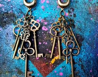 Ear weights 'Skeleton Key'  OOAK