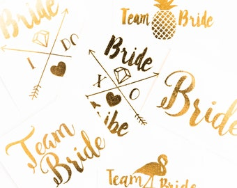 Bachelorette Tattoos | Metallic Gold Temporary Tattoo, Team Bride Tribe, Beach Bachelorette Party Tattoo Favor, Pool Party Bachelorette