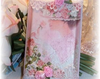 Victorian LACE LADY French Chic with Shabby Pink Roses Pink Mother's Day Gift PLAQUE