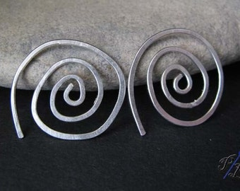 Spiral hoop earrings. Small modern wirework swirls. Sterling silver or gold filled. Handcrafted in 18 gauge. Unique jewelry gift for women