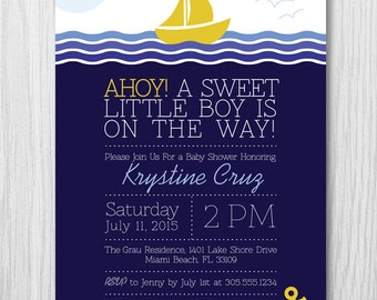 Nautical Sail Boat Baby Shower Invitation, Under the sea baby shower invitation, Boy or Girl, Digital Printable file, Paper squid, Item 159