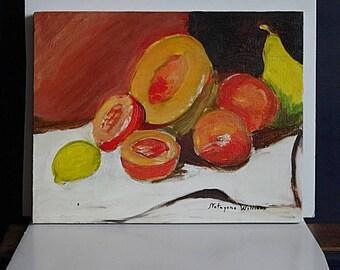 Original Painting Still Life Fruit Orange Signed