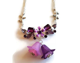 Flower necklace purple and lilac floral design necklace on a 18 inch silver plated chain necklace